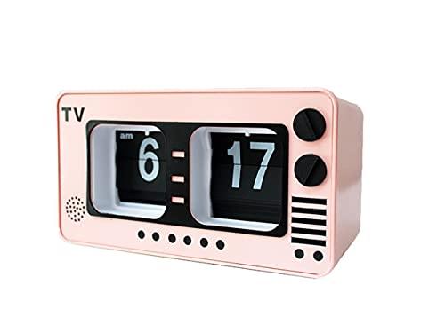 XY-M Retro Nostalgic Light Pink TV Page Flip Clock Fashion Creative Home Wall Clock Automatic Page Flip Clock Table Clock