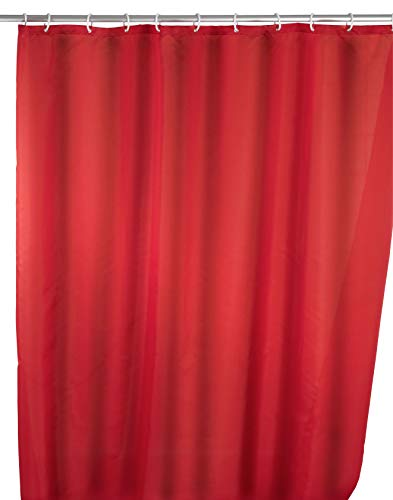 WENKO Anti-Schimmel Duschvorhang Uni Red, Duschvorhang mit Antischimmel Effekt fürs Badezimmer, inkl. Ringen zur Befestigung an der Duschstange, waschbar, 100prozent Polyester, 180 x 200 cm, rot