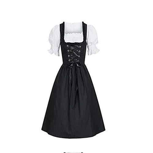 TAWXR Plus Size Women Medieval Kostüm Dress German Oktoberfest Dirndl Dress Cosplay Kostüm Party Dress M-5XL Gr. 62, Schwarz