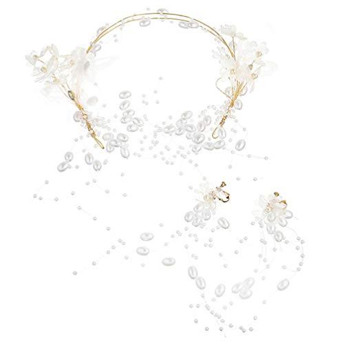 Amosfun 1 juego de diadema y pendientes de novia para boda con perlas de mariposa largas pendientes...