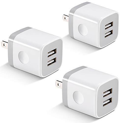 USB Wall Charger, KENHAO 3-Pack 2.1A/5V Dual Port USB Plug Power Adapter Charging Block Cube Compatible with iPhone 11/12 Pro Max, XR/XS/X 8/7/6 Plus, iPad, Samsung, Moto, Android Phone