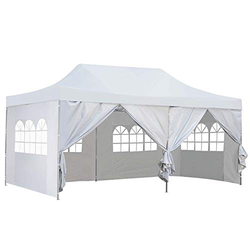 Outdoor Pop Up 10 x20  Canopy Tent with Sidewall - Folding Commercial Gazebo Party Tent Blue Red White with Wheeled Carry Bag (White - 6 sidewalls)