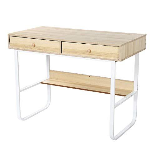 Lzcaure Escritorio de computadora de escritorio escritorio PC portátil mesa de estudio mesa de escritura simple estación de trabajo con 2 cajones estante de almacenamiento para casa oficina dormitorio
