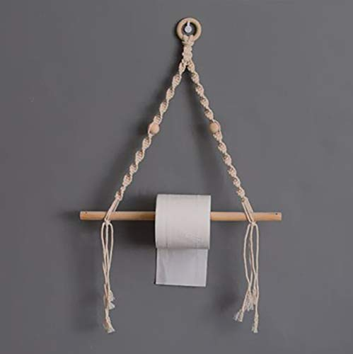 Z&H Cuerda De Algodón Madera Portapapeles Higiénicos,Mano-Punto Boho Toallero Tapiz Montaje En Pared Decoración Baño Salón 24x16(60x40cm)