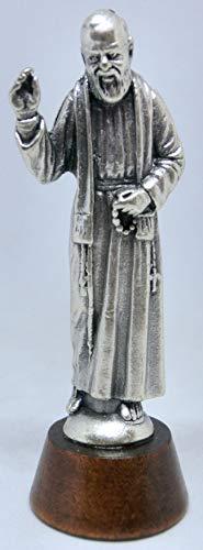 GTBITALY 40.049.30 028 Statua Silouette di Santo Padre pio di pietrelcina Argento su Base Legno Misura 7 cm