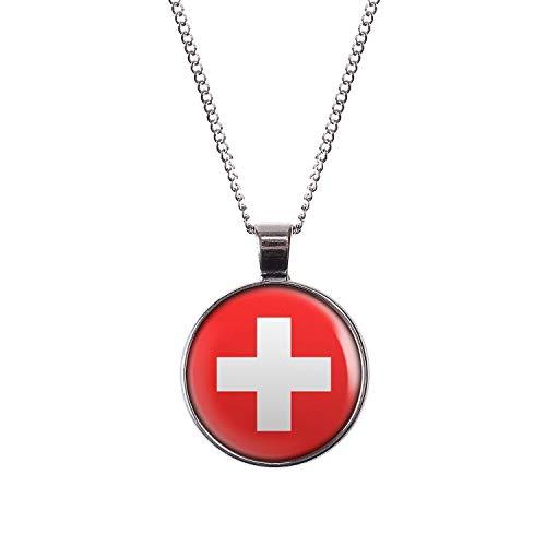 Mylery Hals-Kette mit Motiv Schweiz Suisse Switzerland Flagge Silber 28mm