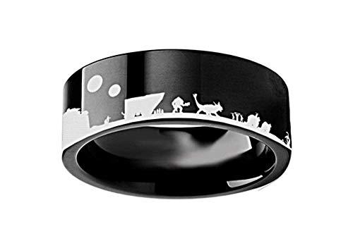 Roy Rose Jewelry スター・ウォーズ 新たなる希望 ジャバ・パレス R2D2 CP3O リング フラット ブラック タングステンリング 幅4mm