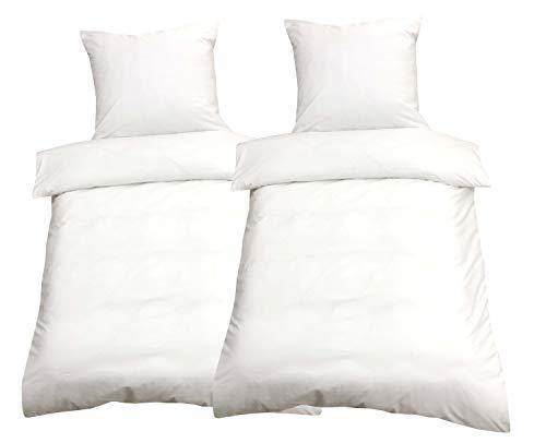 Leonado Vicenti Bettwäsche 135x200 4teilig Renforce 100% Baumwolle Uni mit Reißverschluss, Farbe:Weiß