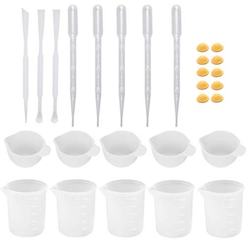 Yushu Juego de herramientas de silicona para mezcla de moldes de taza de mezcla de cuchara para el dedo de la campana para el molde de fundición de epoxi para la fabricación de joyas de epoxi