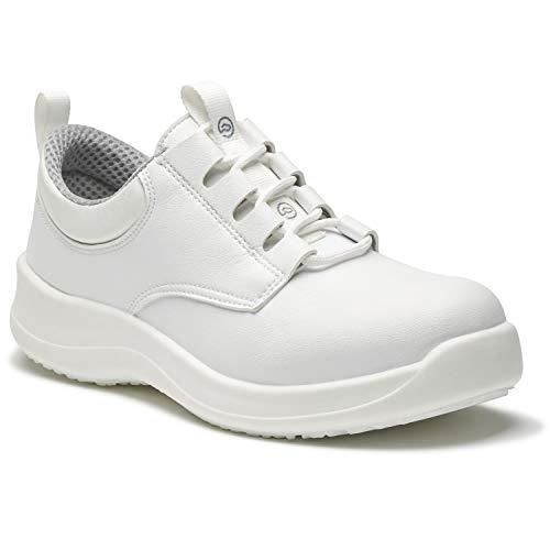 World of Clogs.com Toffeln antinfortunistiche LITE 04195 acciaio punta allacciate scarpe antinfortunistiche - Bianco - Bianco, 6 UK