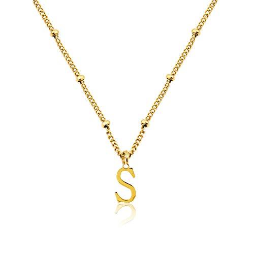 Damen Halskette mit Wunsch Buchstabe Edelstahl 316L   Tiny Letter Necklace Gold   personalisierte Kette mit kleinem Buchstaben Anhänger (11mm) Geschenkidee für Freundin Frau