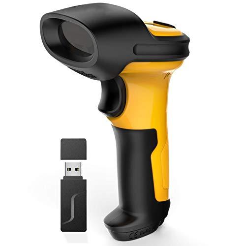 Scanner sans Fil, Bar Automatique USB Handheld Barcode Scanner 1D Lecteur de Code, Batterie 2600mAh, Gamme 60M, Balayage Automatique (Color : Yellow)