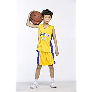 31EFHaYH8bL. SS300  - Maillots de Baloncesto para Niños - Conjunto NBA Bulls Jordan#23 / Lakers James#23 / Warriors Curry#30 Camiseta de Baloncesto Chaleco & Pantalones Cortos de Verano para Chicos y Chicas