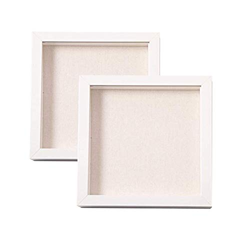 Muzilife 8x8 Shadow Box Picture Frame with Linen Board - Wood & Glass Display Case Ready to Hang...