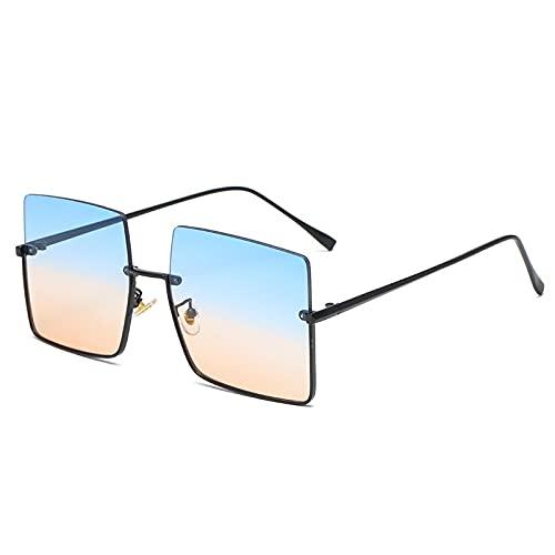 HAOMAO Gafas de sol graduadas semi sin montura cuadradas de gran tamaño Uv400 para mujer, medio marco, espejos retro de metal, tonos azul naranja