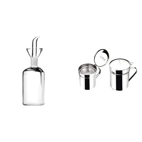 IBILI Botella De Aceite De Cocina De 500 Ml De Cristal, 24 X 7 X 7 Cm + 700001 - Grasera INOX Promo-Carne 0,50 Lt, 1 Unidad