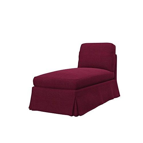 Soferia Ersatzbezug fur IKEA EKTORP Freistehende Recamiere, Stoff Elegance Burgund, Rot