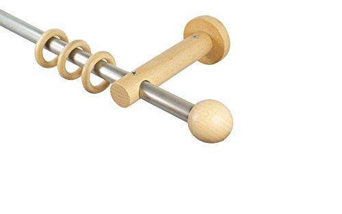 iso-design Gardinenstangen 16 mm aus Metall und Holz Alu/Buche Endstück Kugel, 240 cm (2 x 120 cm)