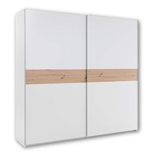 CADIZ Schwebetürenschrank Weiß mit viel Stauraum - Vielseitiger Kleiderschrank mit Bauchbinde in Artisan Eiche Optik - 215 x 210 x 58 cm (B/H/T)