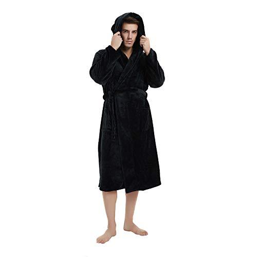 U2SKIIN Mens Fleece Hooded Robe Plush Bathrobe (Black, L/XL)