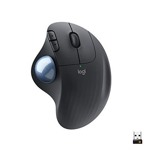 Logitech ERGO M575 Ratón Trackball Inalámbrico, Control sencillo con el pulgar, precisión y seguimiento suave, diseño ergonómico, para Windows, PC y Mac, con Bluetooth y USB, Gris
