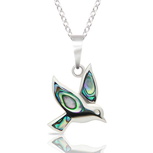 Seashore Jewellery 925 Sterling Silver Womens Bird Dove Pendant Necklace inlaid with Abalone Shell on 18 inch Chain and Gift Box