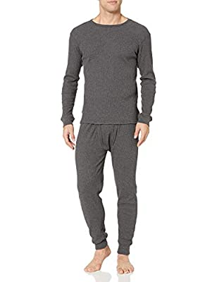 Amazon Essentials Men's Thermal Long Underwear Set, Charcoal Grey, Medium