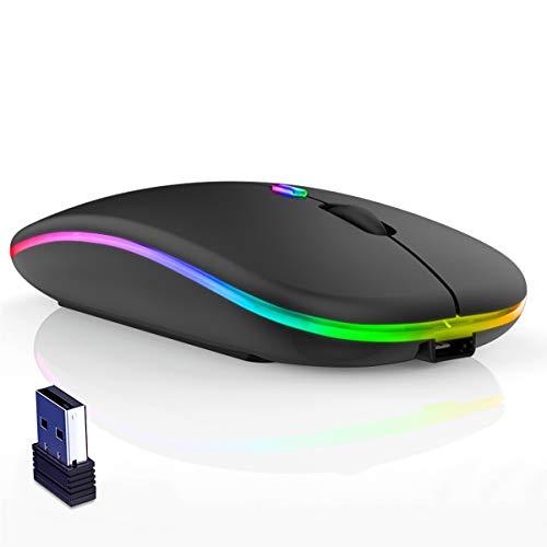 YANMINZ Mouse senza fili, Ultra Magro LED Colorato Ricaricabile Mouse senza fili del Computer Portatile del Computer Portatile del PC 2.4G con Ricevitore USB per Laptop, PC, Computer, Mac(nero)