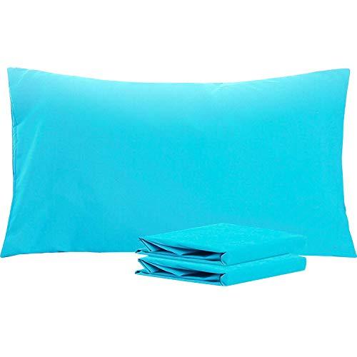 NTBAY Fundas de Almohada de Microfibra Lisa, Juego de 2 Fundas de Almohada Suaves, Antiarrugas y Resistentes a Las Manchas con Cierre de sobre, 50x90 cm, Azul