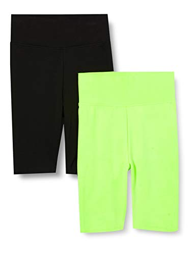 Urban Classics Ladies Radler-Hose High Waist Cycle Shorts 2-Pack Pantalones Cortos de Yoga, Electriclime/Black, S para Mujer