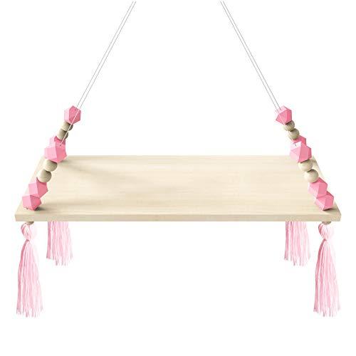 Rehomy - Estante flotante de pared con cuerda para colgar en madera, estante para el hogar, habitación de niños, oficina