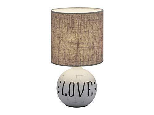 Pequeña lámpara LED de mesa con base de cerámica con el texto «Love & Redonde» en color marrón