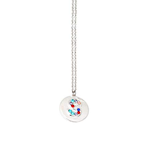 Sayhi Simple 26-Letter Pendants Silver Colored Diamond Necklace Round Necklace Chain Female Personality Birthday Gifts(S,)
