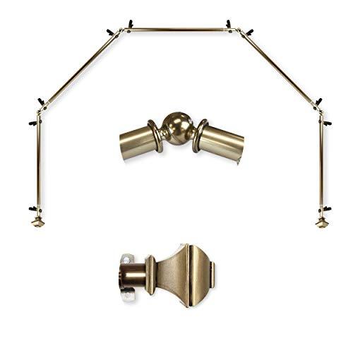 "A&F Rod Décor - Phife 13/16"" 5-Sided Bay Window Curtain Rod 28-48 inch (each side) - Antique Brass"