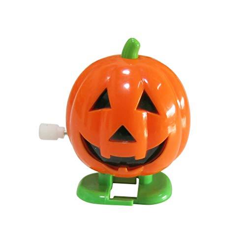 Toyvian 12 unids Lindo Halloween Niños Juguetes Wind-up Jumping Smile Face Pumpkins Fiesta de Cumpleaños Educativos Divertidos Juguetes de Plástico de Regalo (Naranja)