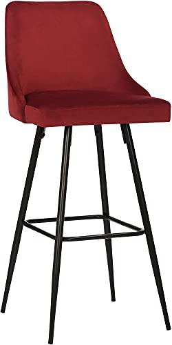 CLP Taburete De Cocina Portree En Terciopelo & con Base De Metal I Silla Alta De Bar En Estilo Velvet con Reposapiés, Color:Rojo