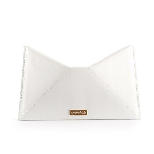 Brownfolds Embrague Origami Cuero Sintético Y Papel Reciclado, Blanco, Talla única