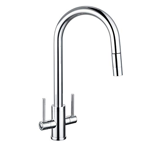 Kitchen Taps with Pull Out Spray, Hapilife Kitchen Mixer Tap Dual Lever High Arc Taps for Kitchen Sink with 360° Swivel Spout Pull Down Sprayer Twin Lever, Chrome