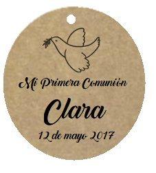 50 Etiquetas kraft colgantes Paloma 5 cm para Primera Comunión personalizadas