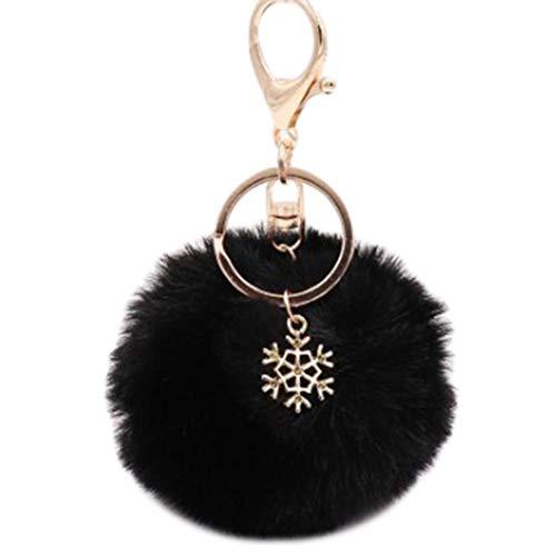 BanHu Elegante Schneeflocke Schlüsselanhänger Haarball Pom Poms Anhänger Schlüsselring Handtasche Taschen Charm hängende Ornamente für Frauen Mädchen