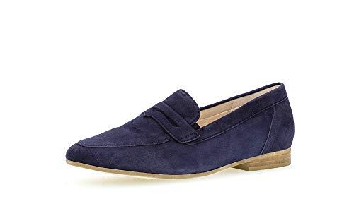 Gabor Damen SlipperMokassins, Frauen Slipper,Comfort-Mehrweite,Optifit- Wechselfußbett, College Schuh Loafer businessschuh,Bluette,40.5 EU / 7 UK