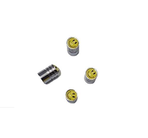 Global Accessorie 4 Caps Jaune Insérer un Smiley Conception valve de pneus