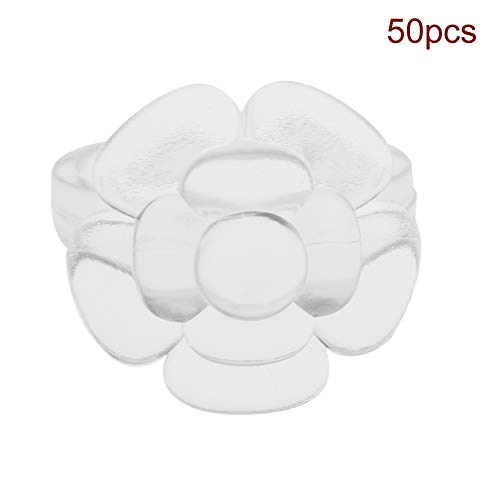 50Pcs/Set Nail Chart Ring Fleur/Butterfly Shape Nail Display Ring Manucure Gel Color Display Tool(03# Fleur + Clair)