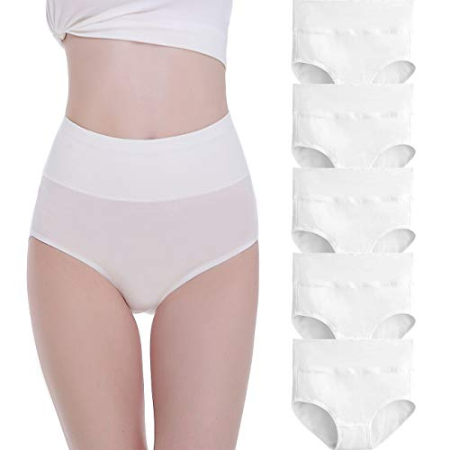 FALARY Women s Knickers High Rise Cotton Pack of 5 White