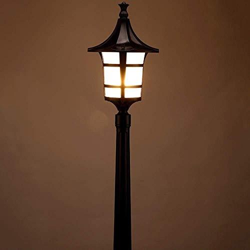 IUHUA Poste de luz para Exterior con lámpara de Poste Aluminio Fundido a presión Negro con Textura de Arena con Vidrio de Agua Luces de Pilar Exterior Impermeables E27