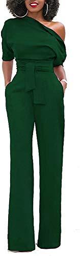 Minetom Femmes Chic Manches Courtes Une Épaule Combinaisons Solides Large Jambe Longue Pantalon Barboteuse avec Ceinture Armée Verte FR 34