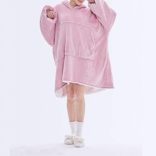 Übergroße Hoodie Decke Sherpa Hoodie Sweatshirt Ärmeldecke TV-Decke mit Ärmeln und Tasche Giant Plüsch Pullover Decke mit Kapuze Fleecedecke Kuscheldecke für Erwachsene Männer Frauen Baby Rosa