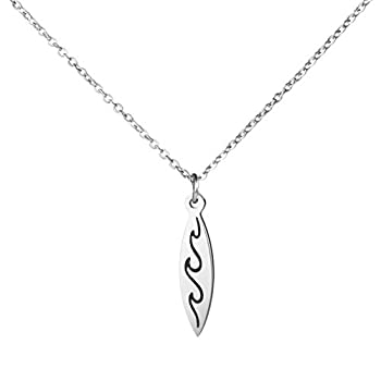 Awegift Surfboard Necklace Surfer Wave Silver Necklaces Beach Jewelry Gift for Women