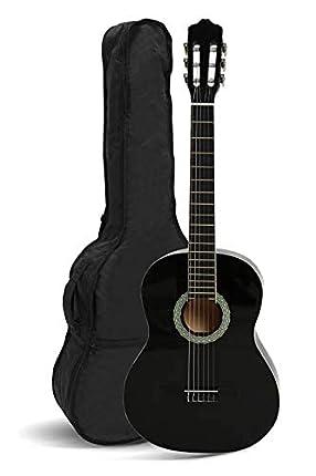 NAVARRA NV14PK Starter Set guitarra clásica 3/4 negro, bolsa/Gig Bag, libro con CD, afinador (tuner),2 púas
