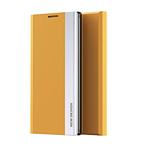 TOPOFU Funda para Xiaomi Redmi Note 10 5G, Carcasa Xiaomi Redmi Note 10 5G con Cierre Magnético, Flip Cover Case con Suporte, Étui Piel Protección-Amarillo